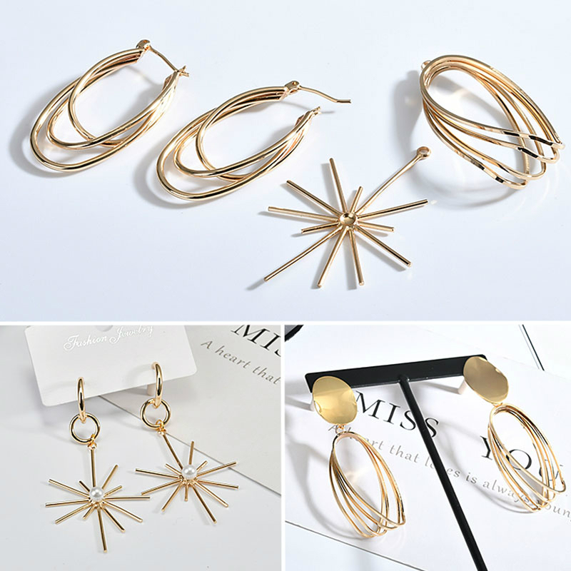 Color - Preserving 18k Copper Plated Genuine Gold U - Shaped Cross Oval Fireworks Ear Buckle DIY Earring Material Accessories