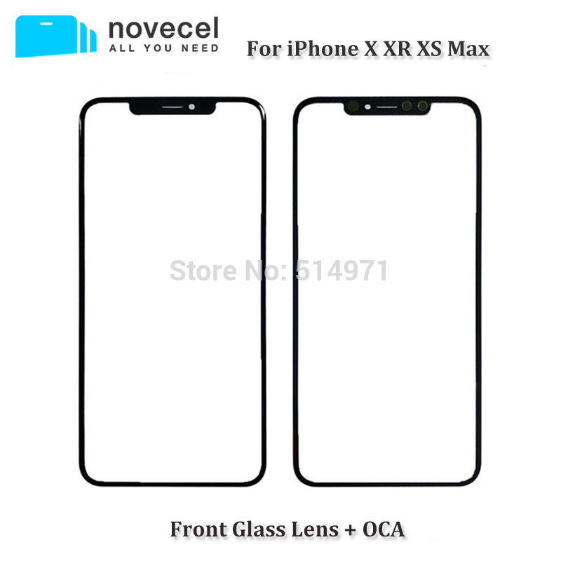 Novecel A Quality Front Screen Outer Glass Lens With OCA Replacement for iPhone X XR XS Max Repair Parts