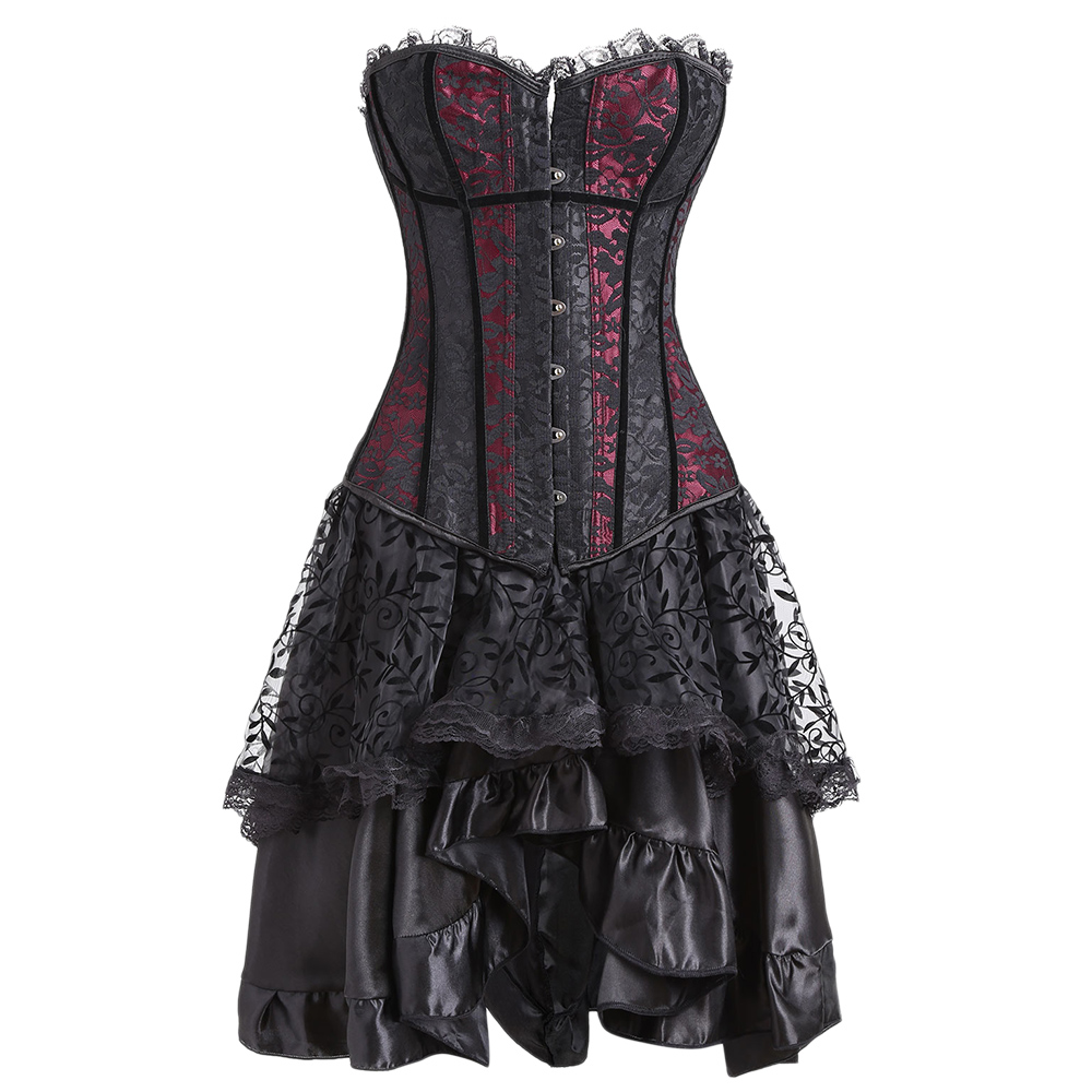 Gamiss 2018 Sexy Steampunk Corsets Bustiers Top Lace Two Piece Flounce Dress Evening Women Gothic Corset Dress Halloween Costume
