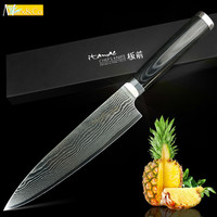 Damascus Knife 8 Inch Chef Knife Professional Japanese Kitchen Santoku Knife VG10 67 Layer Stainless Steel Knives Micarta Handle