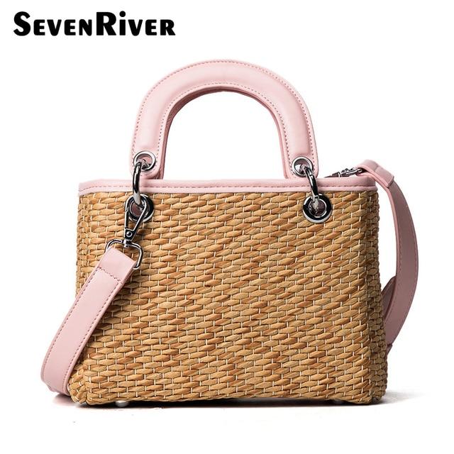 Fashion 2017 Beach Bags Women Small Straw Bag Summer Luxury Designer Top Handle Handbags Travel