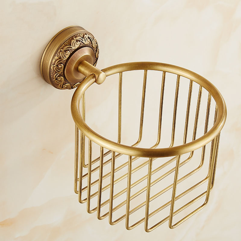 Antique brass wall mounted paper holders bathroom shelf rack, Copper toilet tissue basket cosmetic storage box shelf brackets black of toilet paper all copper toilet tissue box antique toilet paper basket american top hand cartons
