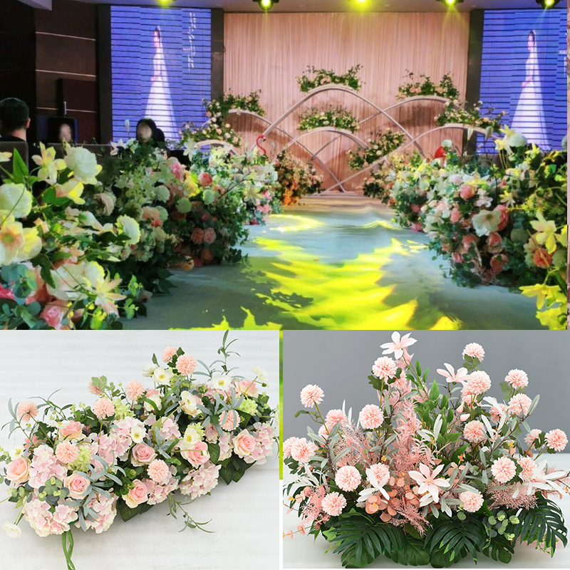 Wedding backdrop arch decor silk flower arrangement artificial peonies pompom leaf green plant mix flower row