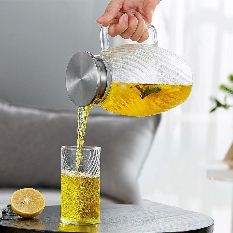 1500 ml style japonais marteau motif verre bouteille d'eau haute capacité jus de fruits lait café bouilloire résistant à la chaleur citron théière - 5
