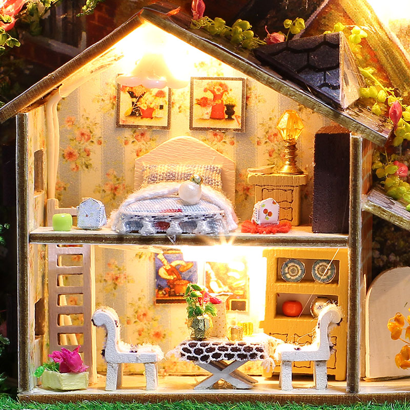 Diy Doll House Kit con Tin Box Theatre Dollhouse Miniatura Juguetes - Muñecas y peluches - foto 2