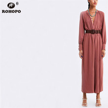 ROHOPO Autumn Women Jumpsuit Long Sleeve Belted Vogue High Waist Wid Leg Ankle Length Romper Tunic Ladies Outfit #HB9020