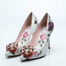 New Spring Flower Print Slip on Bridal Pumps Diamond Embellished Toe Thin  High Heels Glitter Gem Crystal Party Dress Shoes Woman 6c90abfda66d