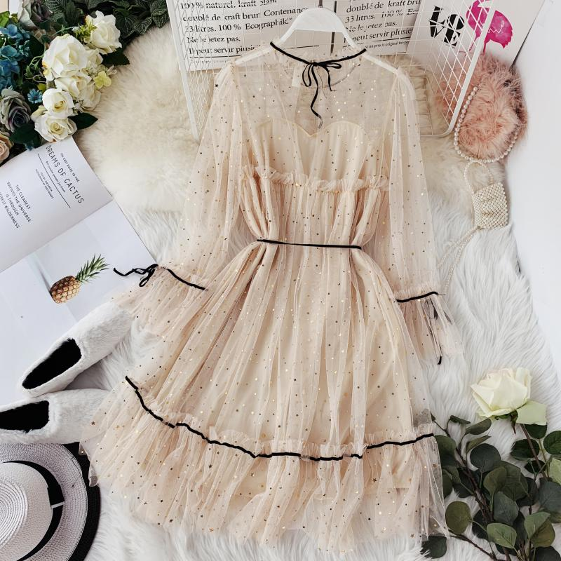 HISUMA spring autumn new women Star sequins gauze flare sleeve lace-up Princess dress female elegant o-neck mesh puff dresses 11