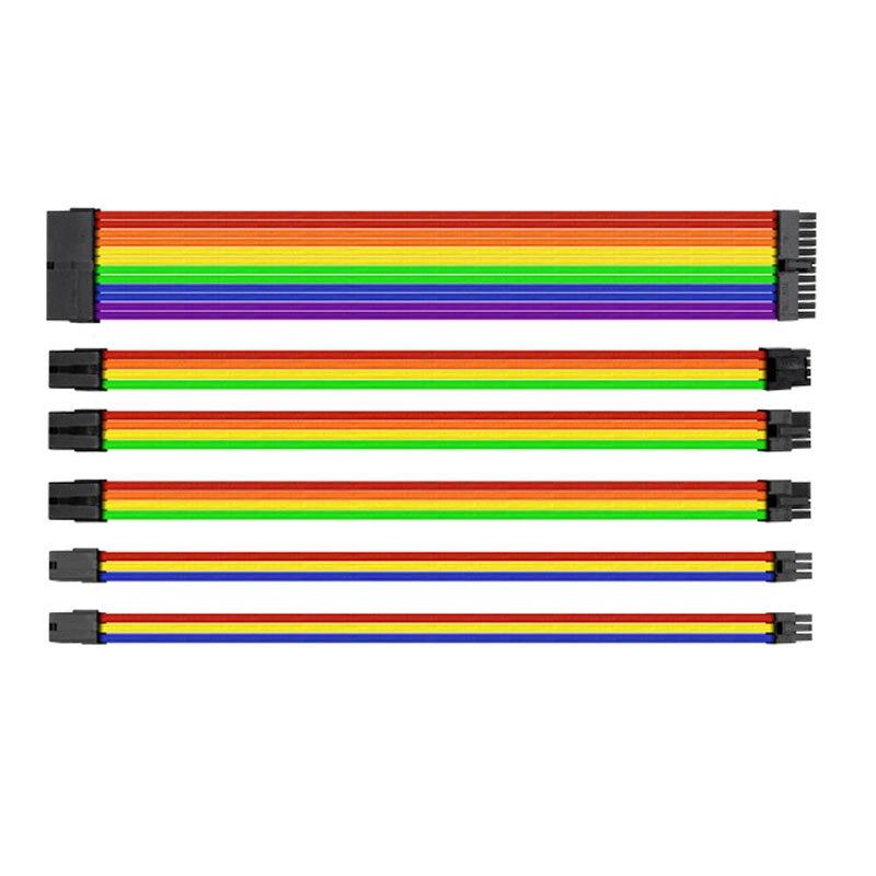 30 см UL 1007 18AWG материнская плата многоцветный рукавами мощность Удлинитель Набор 24Pin/8Pin/6Pin