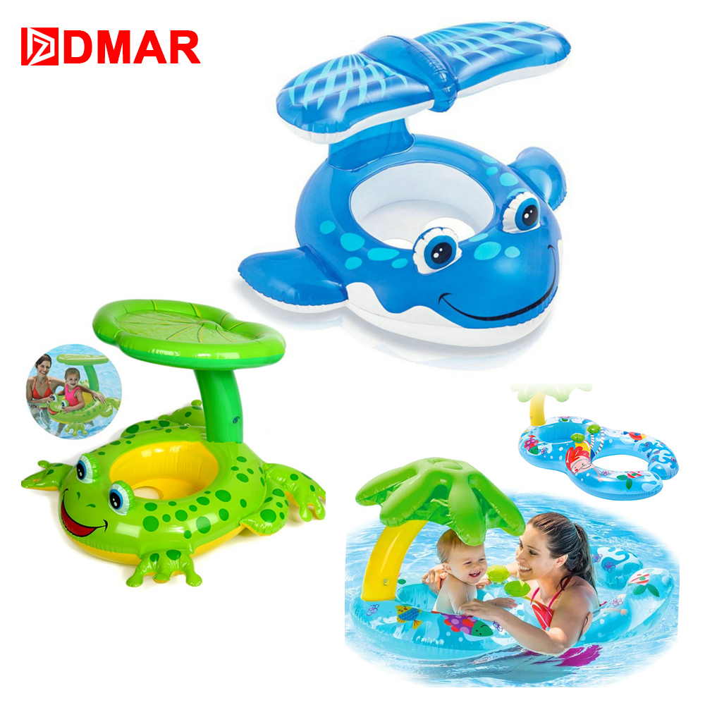 DMAR Inflatable blue whale Frog Baby Boat with Canopy Pool Float for Kids Swimming Ring for Beach Sea Mattress Water Toys