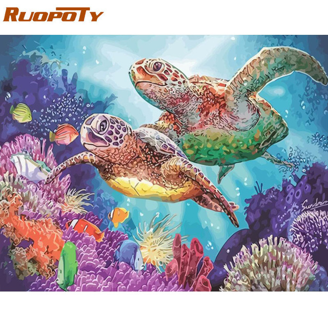 RUOPOTY Frame Sea Turtle DIY Painting By Numbers Calligraphy Painting Acrylic Paint By Numbers Kit Home Decor Wall Art Picture 1