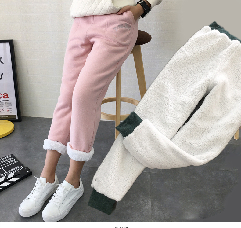 Winter Pants Cashmere Long-Trousers Lambskin Female Women Warm Loose Casual Super-Thick