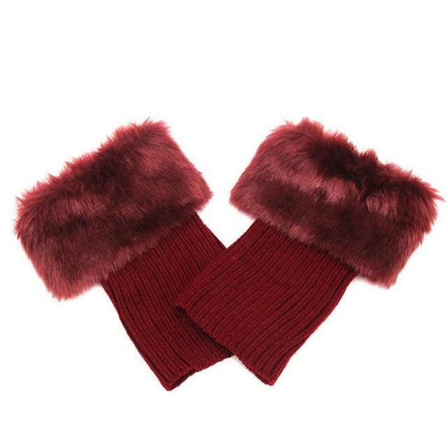 [La MaxPa] 9 Renkler Kadınlar Kızlar Kış Akrilik Bacak Isıtıcıları Bayan Tığ Örgü Kürk Trim Manşetleri Toppers Boot çorap
