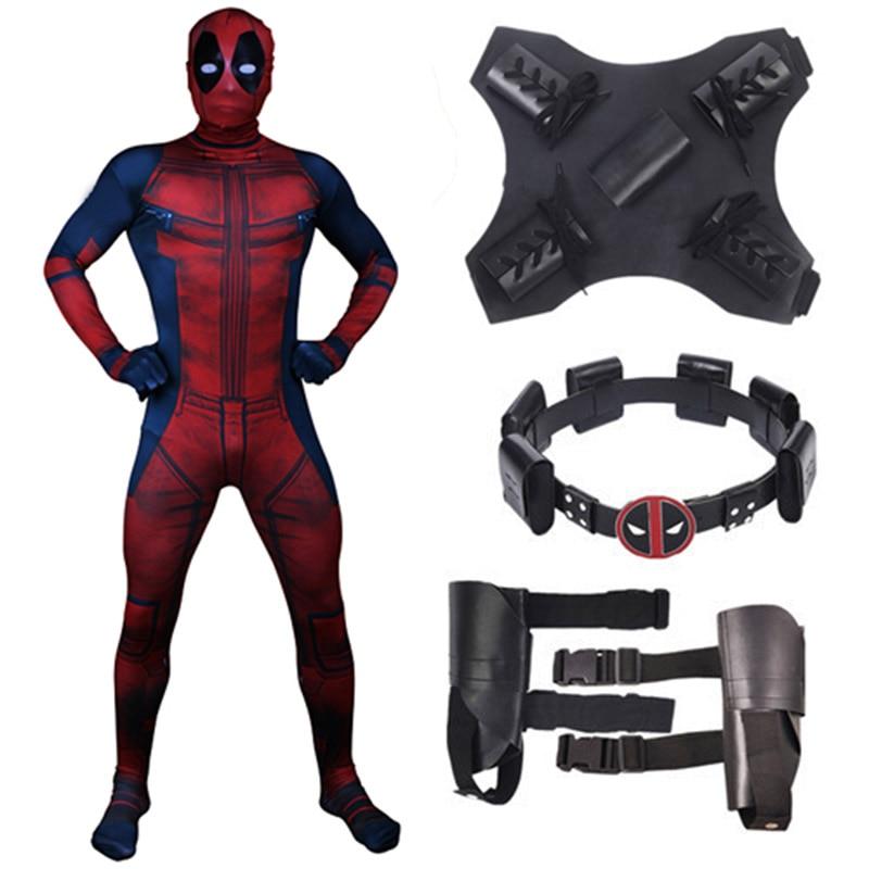 New Deadpool 2 Costume Adult Man Spandex Lycra Zentai Bodysuit Jumpsuits Halloween Cosplay Suit Belt Headwear Mask Sword holster