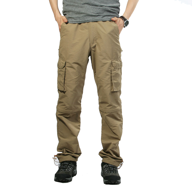 Summer Tactical Cargo Pants Men Military SWAT Quick Dry Trousers Male Casual Many Pockets Loose Thin Removable Work Pants