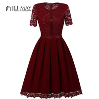JLI MAY Elegant Lace Dress Women Summer Work Office Party Evening Formal O Neck Slim A