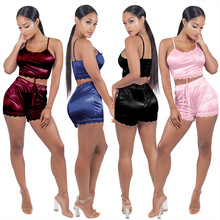 Oversize Women Sexy Comfortable Underwear Pajama Set Lace Up Patchwork Bow Crop Top Camis Shorts Sleep