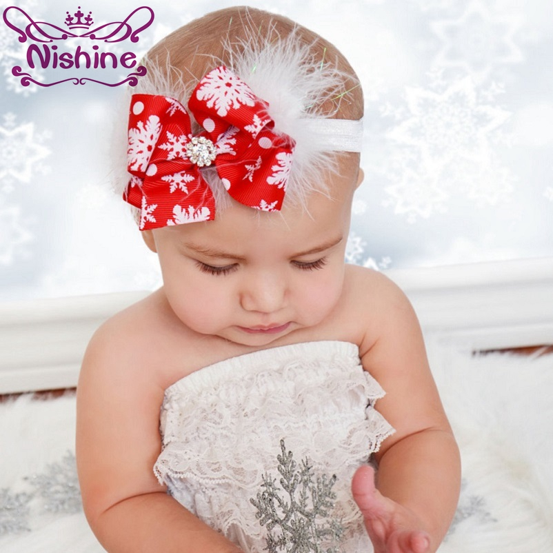 Nishine Girls Christmas Headbands Kids Feather Headwear Infant Rhinestone Bow With Snow Children New Year Hair Band Accessories