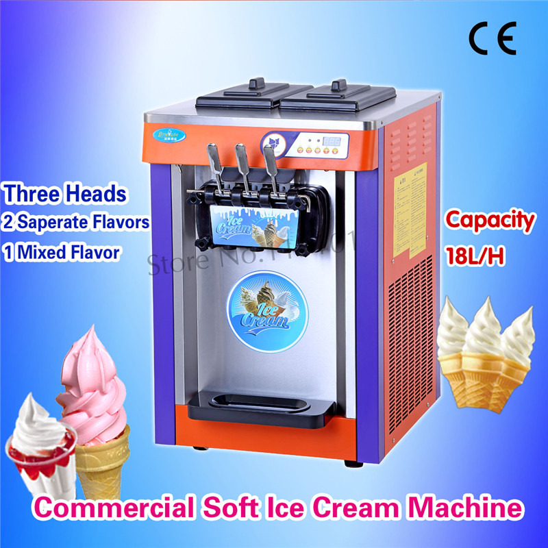 Desktop Soft Ice Cream Maker Commercial Ice-cream Machine Three Flavors Automatic Capacity 18liters 220V
