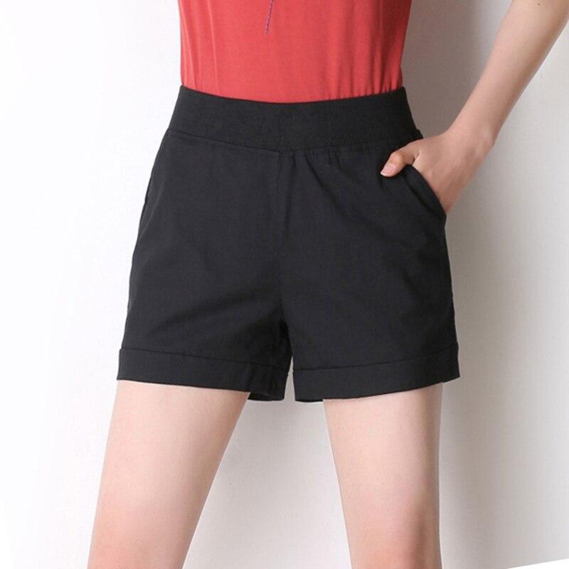 2019 NEW summer wind female candy color high waist 9-11 linen   shorts   women loose elastic waist   shorts   A6616-1-3