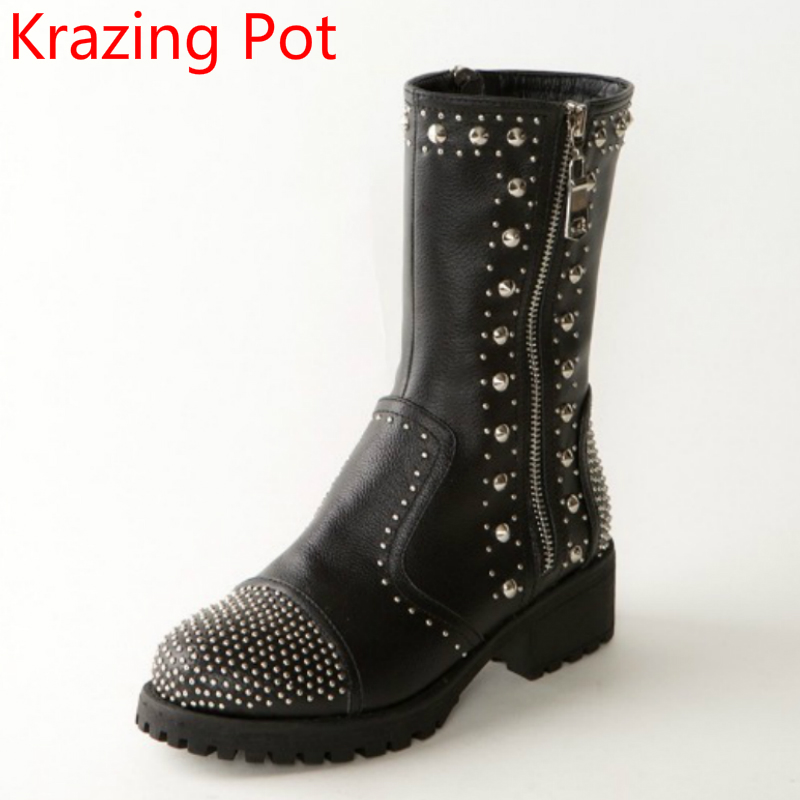 Fashion Genuine Leather Zipper Med Heel Women Mild-calf Boots Round Toe Rivets Metal Runway Handmade Luxury Motorcycle Boots L68 2018 new arrival fashion winter shoe genuine leather pointed toe high heel handmade party runway zipper women mid calf boots l11