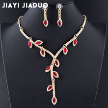 jiayijiaduo Fashion Charm Evening Dress Jewelry Set for Women Necklace Earrings Set 3 colors gift Crystal leaves drop shipping(China)