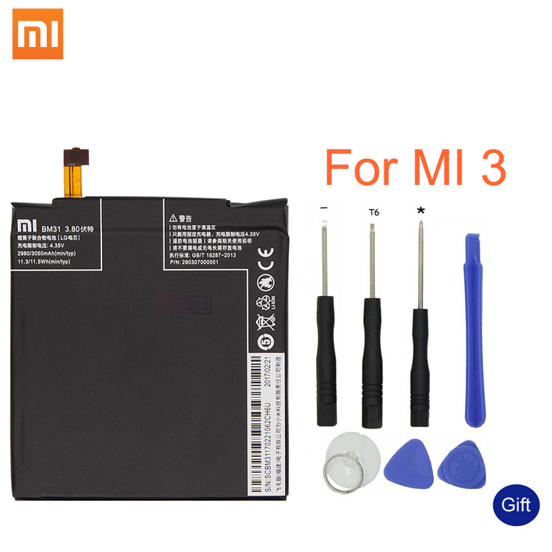 Xiao mi Original Replacement Battery BM31 For Xiaomi Mi 3 Cellphone Battery 3050mAh High Capacity RechargeableXiao mi Original Replacement Battery BM31 For Xiaomi Mi 3 Cellphone Battery 3050mAh High Capacity Rechargeable