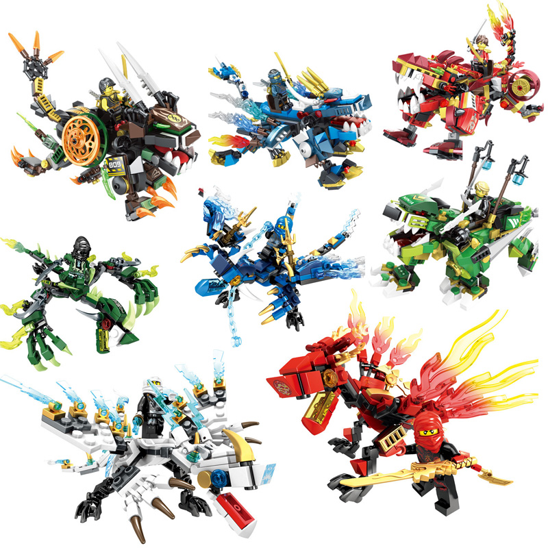 цена MEOA Dragon Ninjagoe Ninja Knight Building Blocks Mini Action Figures Compatible LegoINGlys Bricks Educational Toys For Children
