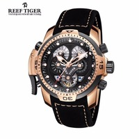 Reef Tiger Mens Watches with Complicated Dial Rose Gold Case Automatic Military Sport Watch with Rubber Strap Relogio Masculino 3