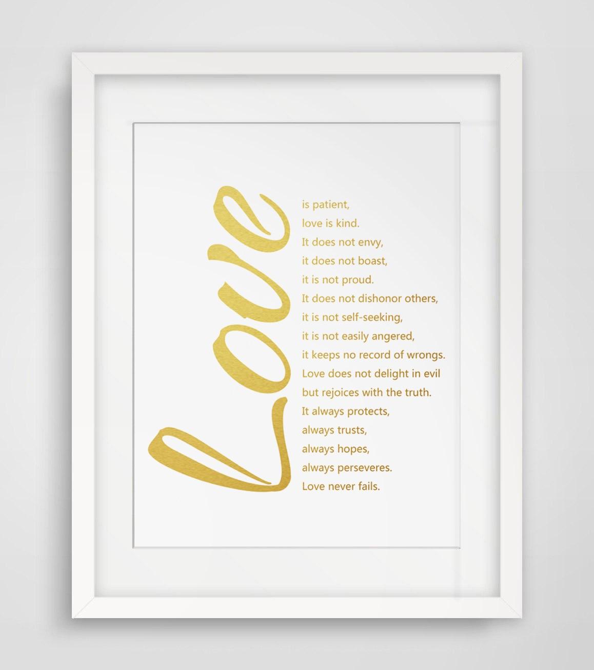 Corinthians Love Quotes Love Quotes Gold Poster Fine Art Paper 1 Corinthians 13 Art Print