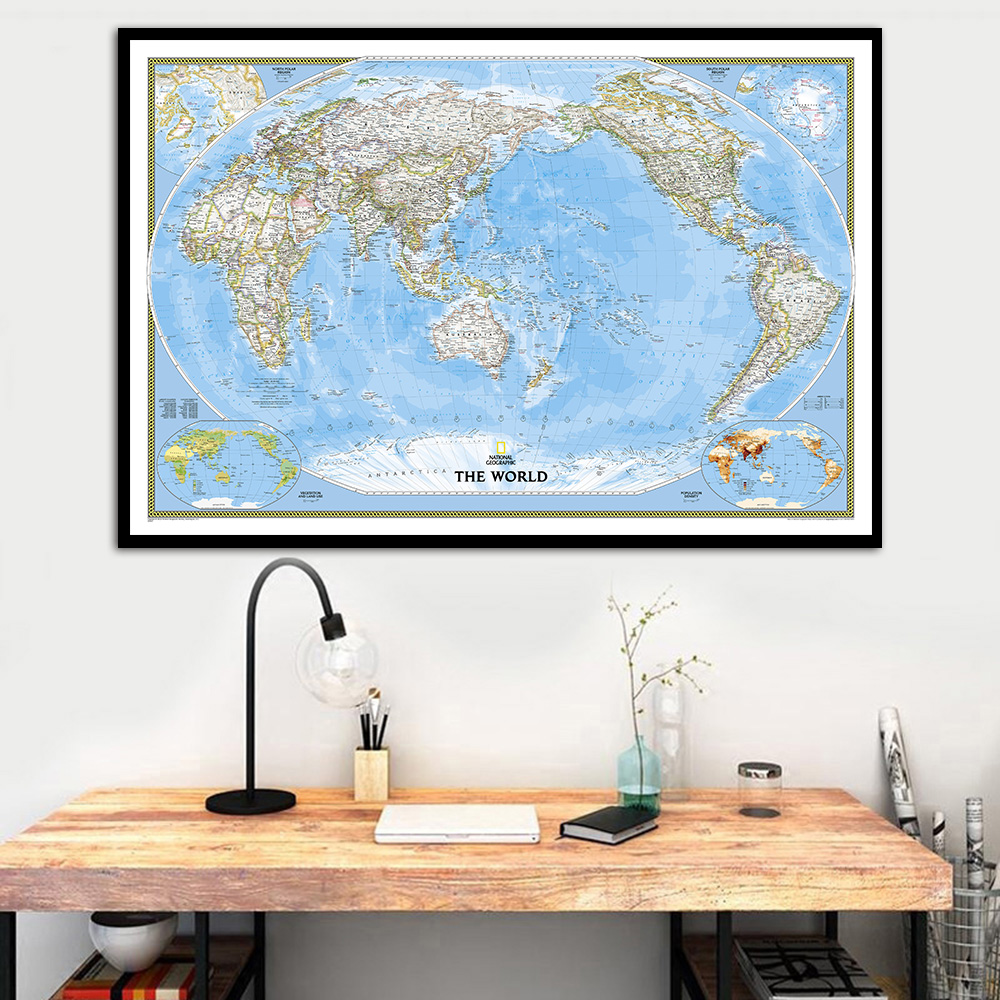 Home Decor Nation: The World Map National Geographic Poster Wall Art Silk
