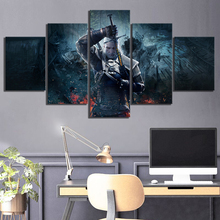 Print Canvas Wall Art Modular Poster HD 5 Panel Geralt Of Rivia The Witcher 3 Game Modern Picture Home Decor Painting Bedroom все цены