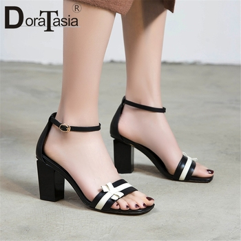 DORATASIA Hot Sale Sweet Bowtie Summer Sandals Woman Shoes High Huality Sheepskin Chunky High Heels Shoes Woman Sandals