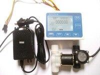 "2018 g1/2 ""controle de fluxo de água display lcd + medidor de sensor de fluxo válvula solenóide + adaptador de energia adapter headphone valve casting valve compressor -"