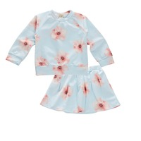 New Girls Clothes Spring Autumn Clothing Sets Flower Print Skirt Tops Toddler Girl Clothing New Year Costumes for Kids Christmas
