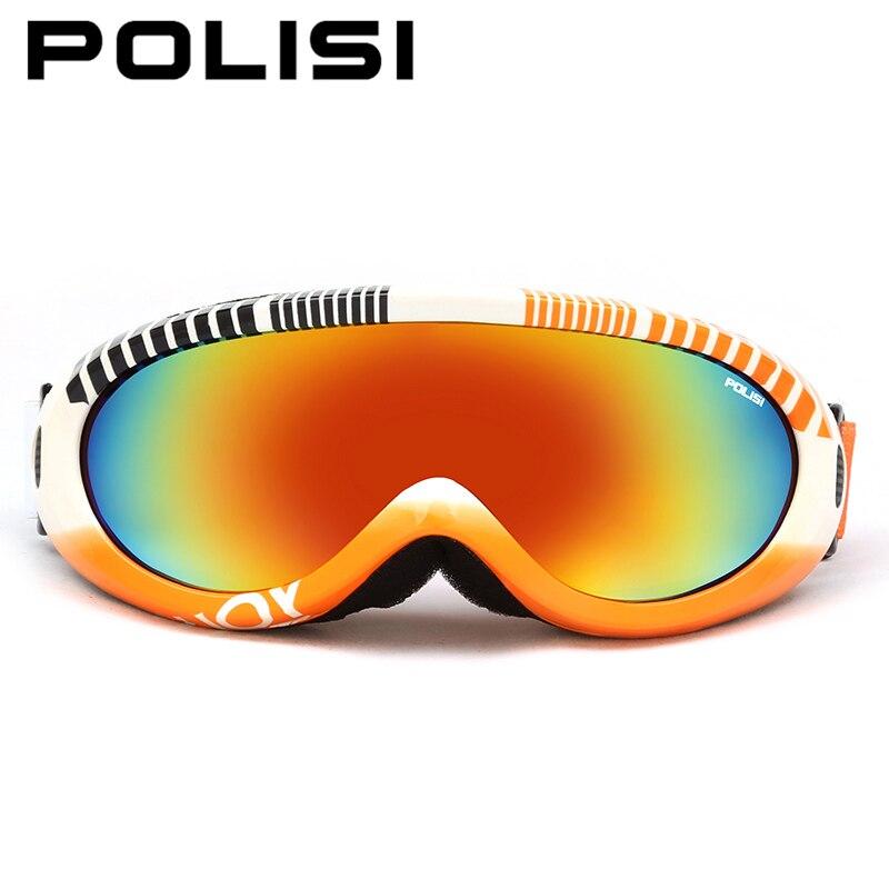 POLISI мужские и женские сноуборд Скейт лыжные очки зима UV400 лыжи Снегоход Мотоцикл очки Анти-туман Esqui снег очки