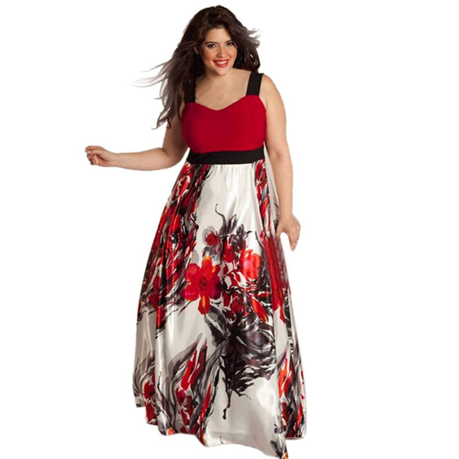 Moda mujer Fashion Plus Size Women Floral Printed Long Evening Party Prom Gown Formal Dress elegant
