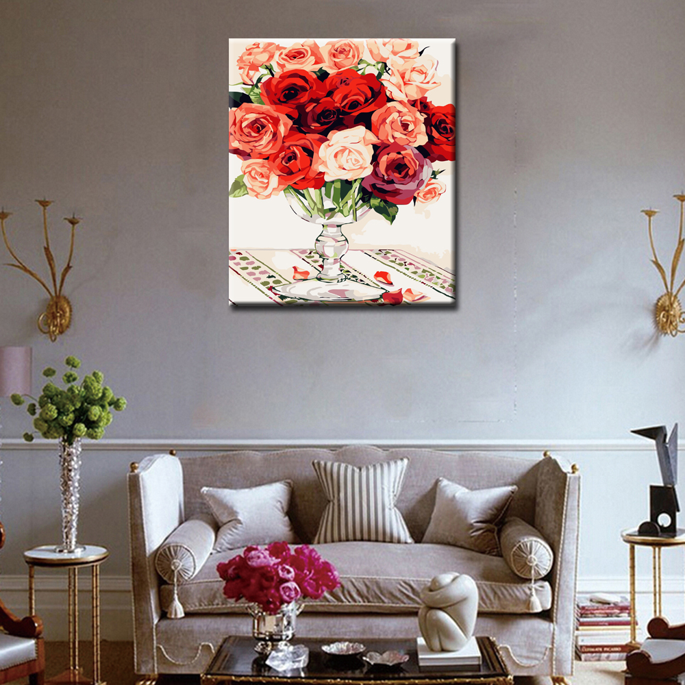 WEEN Red Rose DIY Oil Painting By Numbers Framed Wall Picture Oil Canvas Paint By Numbers Home Decor Picture 40x50cm in Painting Calligraphy from Home Garden