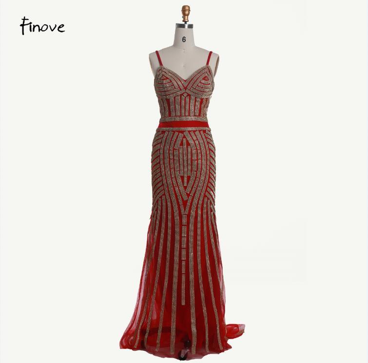 Finove/Вечерние платья цвета шампанского, элегантные сексуальные вечерние платья без рукавов с v-образным вырезом, украшенные кристаллами и бисером, длинные платья для выпускного вечера для женщин - Цвет: Red and Gold
