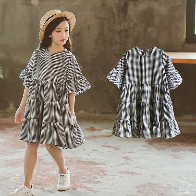 school big girls plaid dress flare sleeve summer toddler kids dresses loose children clothes size 4 5 6 7 8 10 12 14 Years plaid fit and flare dress
