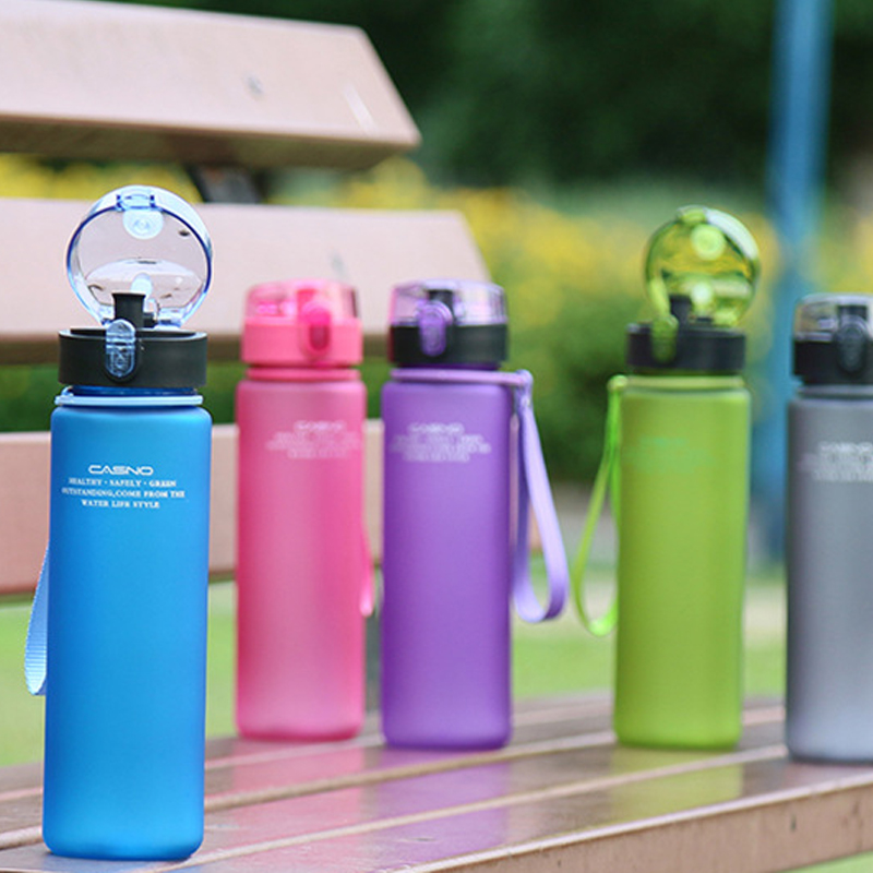 Sports Water Bottle Portable Leak-free Scrub Plastic Camping Camping Filling Drink Hand Gift Birthday Gift 400ml/560ml Hot