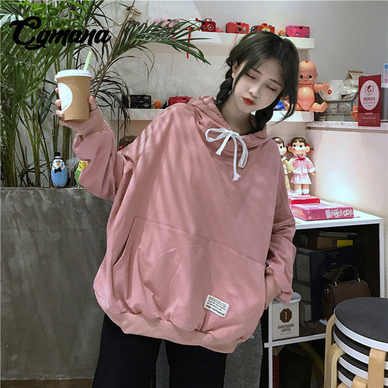 CGMANA Hoodies Women 2019 New Hoodies Oversize Women Harajuku BF Chic Loose Cute Sweatshirts Korean Thin Pullover Casual Moletom