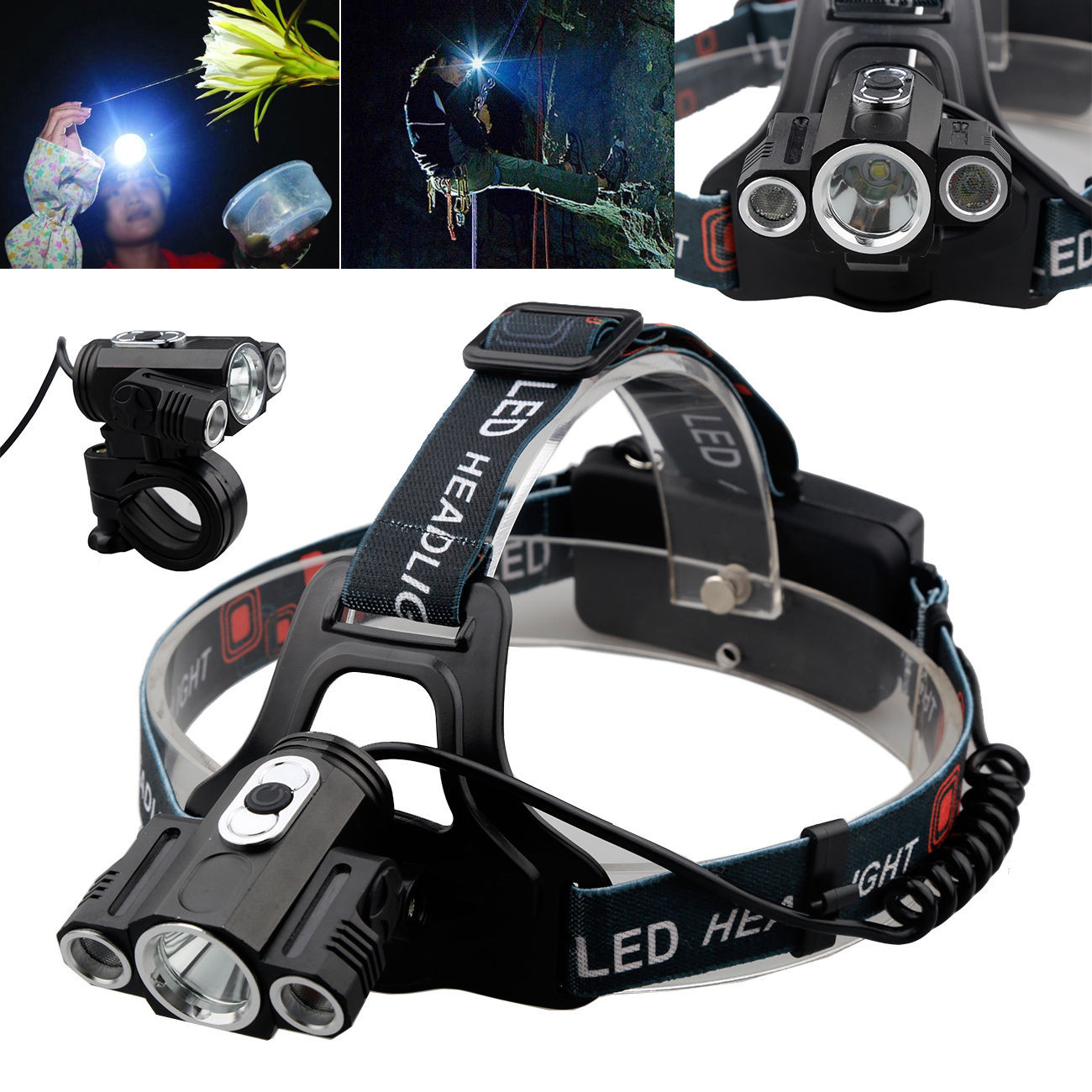 15000Lm Cree 3x T6 LED Rechargeable 18650 Headlamp Headlight Head Torch