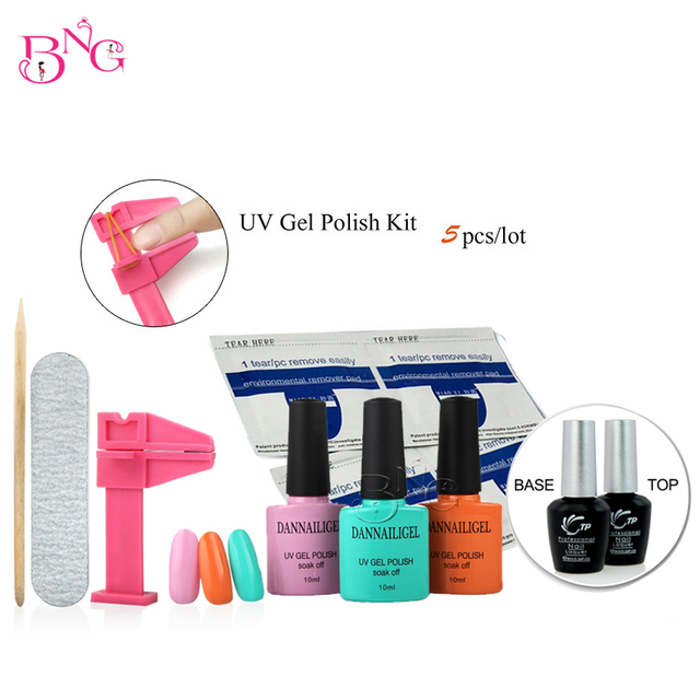Dannailgel 10ml Long Lasting Soak Off UV Polish Gel(3Pcs)+Base Coat+Top Coat Tool Kit with File Remover Pad Nails Pinch Clamp