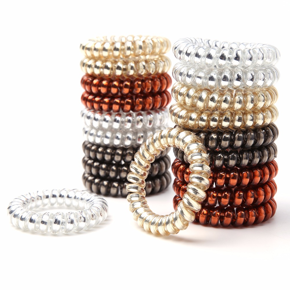 4Pcs/Pack Women Rubber Hair Rope Elastic Hairbands Spiral Shape Hair Ties   Headwear   Accessories Telephone Wire Line Headband