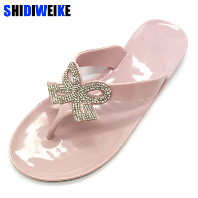 1a321018cd037 Women Slippers Summer Beach Slippers Flip Flops Sandals Women Rhinestone bow  Fashion Slippers Ladies Flats Shoes