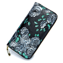 Купить с кэшбэком Embossing Flower Women Wallets 2017 Real Split Leather Wallet Female Purse Retro Chinese Style Clutch Party Card Phone Bag Case
