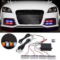 4x 3 LED 12V Strobe Emergency Flashing Light Car Auto Warning Lights 3 Flashing Modes For