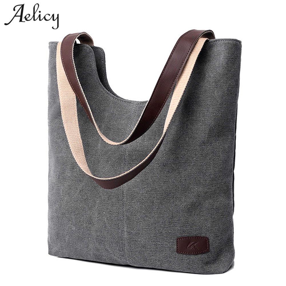 Large Capacity Handbags Shoulder Handbag  Soft Canvas Ladies Purses And Hand Bags 1123