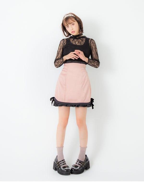 Preppy Princesa Dulce Falda Cintura Alta Ruffles multiple Chic Negro Delgada Lolita Una Plaid rosado Línea Falda Lindo Ht029 Algodón ErqdIwqW7F